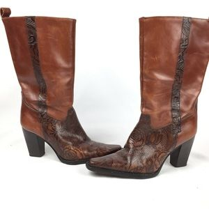 Antonio Melani leather tooled Mexican calf boots
